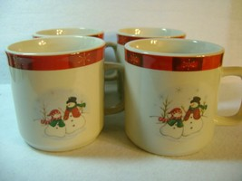 Lot of 4 Royal Seasons Stoneware Mugs Christmas Winter Snowman 3  x 3.25 in - €7,10 EUR
