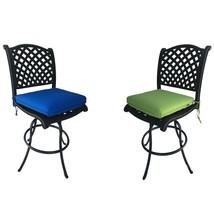 Patio Bar Stools Set of 2 Swivel Outdoor Furniture Cast Aluminum Sunbrella Seats image 1