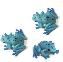 Doll House Shoppe Toy Poison Dart Frog Set/3 Blue Game Pcs Micro-mini Miniature - $3.93