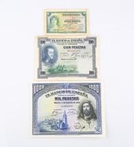 1928 Mil Pesetas, 1925 Cien Pesetas, 1935 Una Peseta Banco de Espana Not... - $82.17