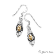 Bali Style French Wire Earrings with Genuine Citrine Drop Design - $34.99