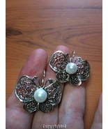 Natural 8mm Pearl ORNATE Butterfly Design Dangle Earrings 925 Sterling S... - $39.00