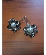 7mm Natural Pearl Flower Design Dangle Earrings .925 Sterling Silver Sna... - $39.00