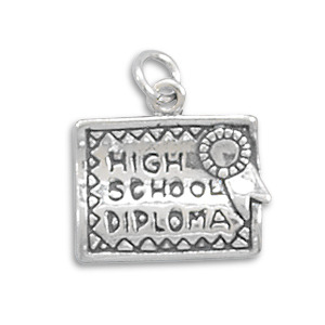 Sterling Silver High School Diploma Charm
