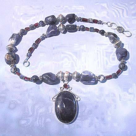 Sterling Silver and Sodalite and Garnet Necklace