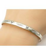 MEXICO 925 Sterling Silver - Vintage Slim Fish Pattern Bangle Bracelet -... - $48.71