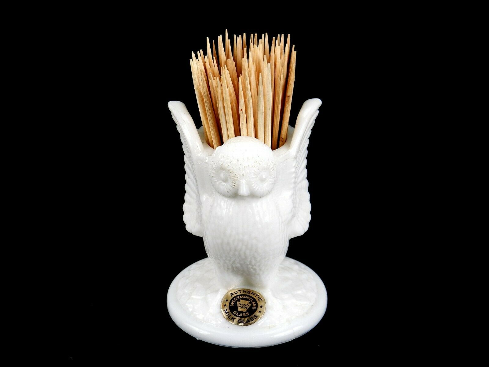 Primary image for Open Winged Owl Toothpick Holder, Vintage Westmoreland White Milk Glass, TPK-103