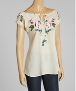 Luv2Luv Ivory & Pink Floral Peasant Top - XL - $35.00