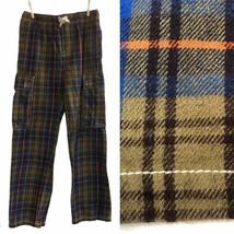 Mini Boden Boy 13Y Flannel Pants Pull On Green Blue Plaid Cargo Style El... - $19.79