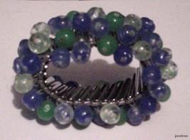 Heavy Beaded Blue/green Flexible Vintage Bracelet circa 1930's Schiffer - $58.41