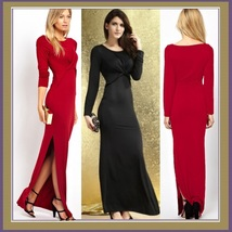 Long Sleeve Side Leg Slit Bohemian Floor Length Maxi Desiger Gown w/ a Twist - $43.95