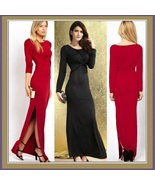 Long Sleeve Side Leg Slit Bohemian Floor Length Maxi Desiger Gown w/ a T... - $43.95