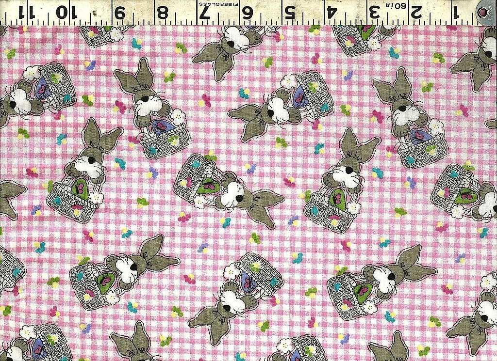 JELLY BEAN PARADE EASTER BUNNY PINK GINGHAM FABRIC image 2