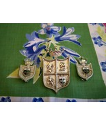 SALE! Vintage Coro Royal Crest Brooch and Earrings Set Silvertone Shield... - $24.99