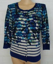 TALBOTS blue floral cardigan lightweight cardigan sweater Medium - $17.37