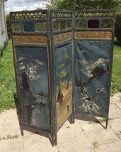 Antique French 1900 oil paint canvas 3 Wood Panel Screen Room Divider Ar... - $900.00