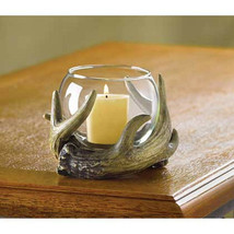 Deer antler Hunting Lodge Rustic country western statue Votive Candle Ho... - $11.04