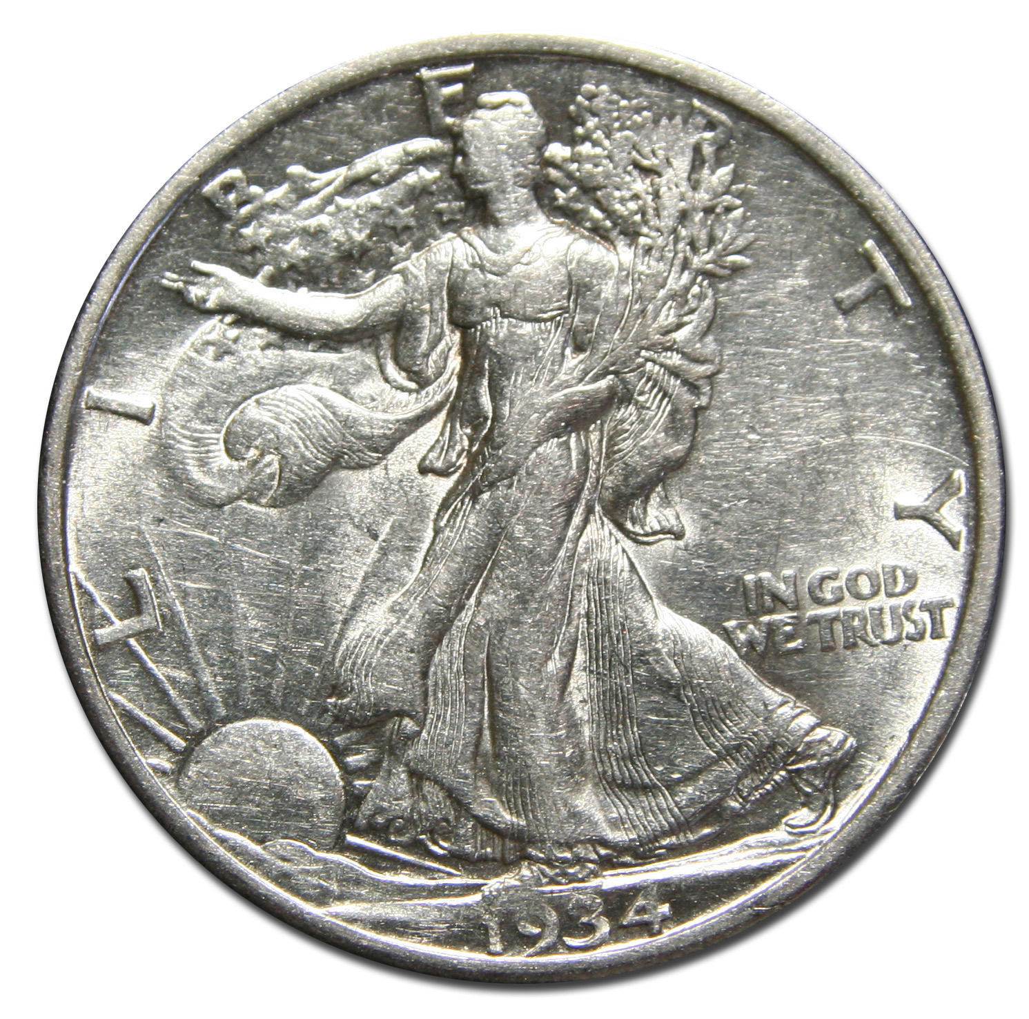 1934D Walking Liberty Half Dollar 90% Silver Coin Lot# MZ 3174