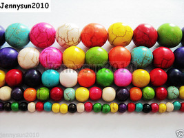 Mix Colored Howlite Turquoise Gemstone Round Beads 16'' 4mm 6mm 8mm 10mm... - $1.52+