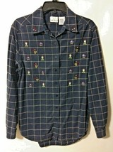 Bobbie Brooks Women's Navy Blue Embroidered Cotton Shirt w/ Birds - Size... - $6.99