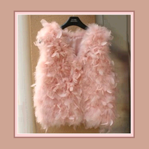 Many Petal Ostrich Hair Feather Fur Vests Vouge Fashion Furs Worn w/ Everything image 3
