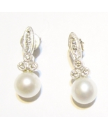 10K WHITE GOLD FW CULTURED PEARL & DIAMOND EARRINGS, 6.MM, 3.60(TCW), 2.... - £83.37 GBP