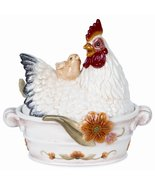 Fitz and Floyd Chanteclair 5-1/4-inch condiment jar w/ spoon  - $37.00