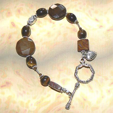 Sterling Silver Tiger Eye, Tiger Iron and Pietersite Bracele