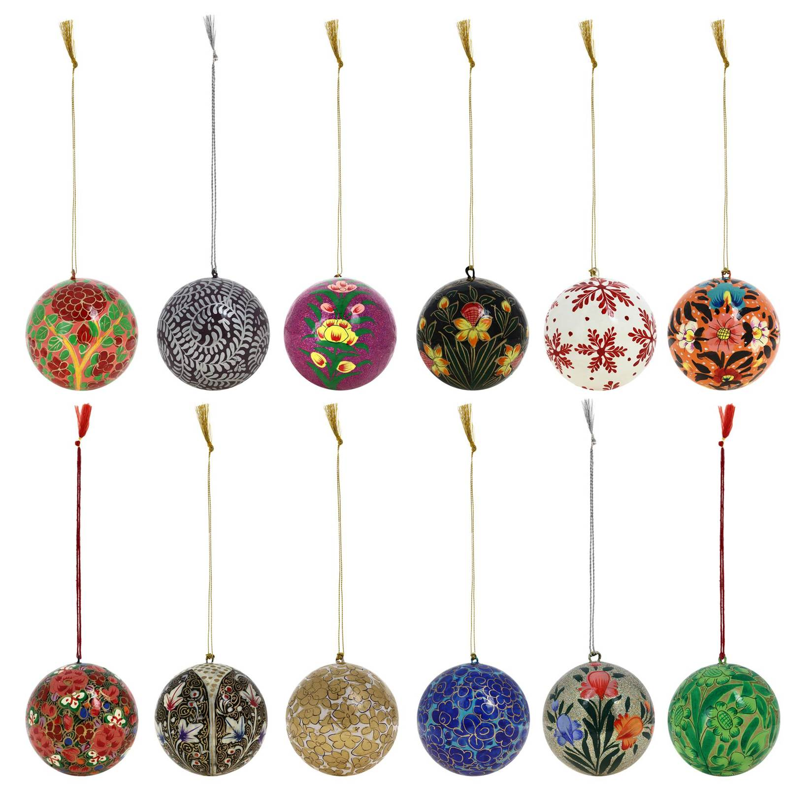 Decoration christmas ornaments handmade paper mache hanging balls set of 12 ornaments - Hanging paper balls decorations ...