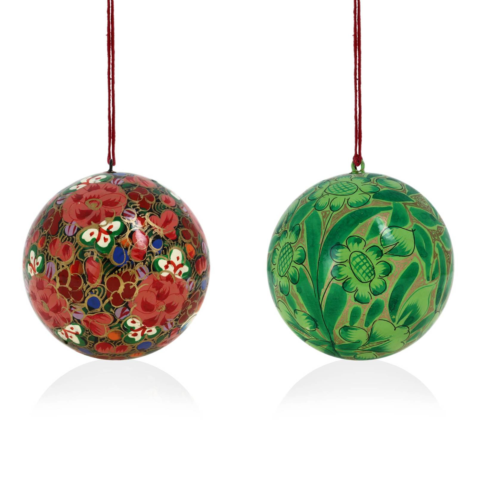 Decoration christmas ornaments handmade paper mache for Hanging christmas decorations