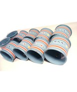 VINTAGE SET OF 10 AUDREY METAL PAINTED NAPKIN RINGS SUN VALLEY BLUE - $9.95