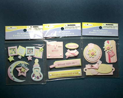 Baby Girl Pink Scrapbook Embellishments