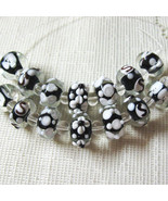 Black and White Lampwork Glass Beads 14mm, 7 beads - $5.75