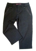 Girls Size 10 Limited Too Black Pinstripe Capri Crop Pants Stretch Rhine... - $9.40