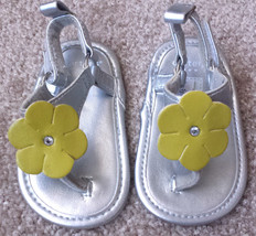Baby Girl's Size 1 Carter's Silver Sandals Yellow Floral Designed W/ Rhi... - $9.00