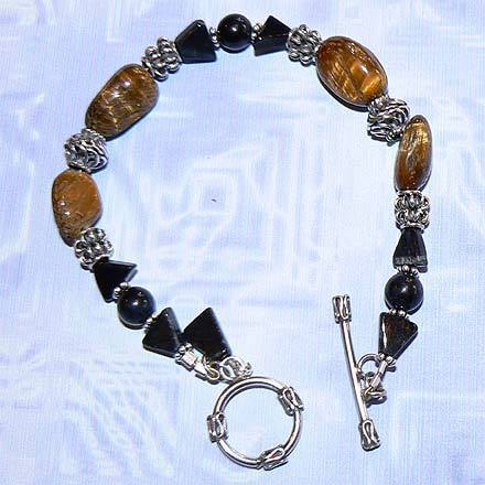 Sterling Silver Blue and Gold Tiger Eye Bracelet