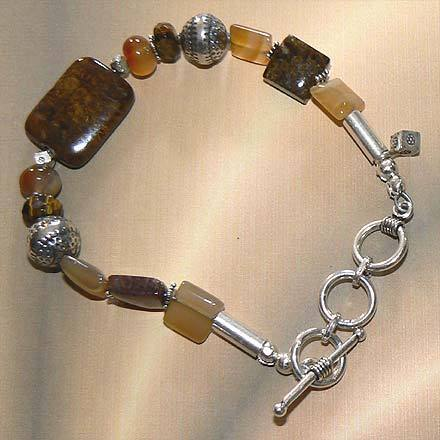 Sterling Silver Pietersite, Carnelian and Tiger Eye Bracelet