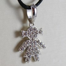 18K White Gold Girl Pendant, Baby, Length 0.83 Inches, Zirconia, Made In Italy - $174.80
