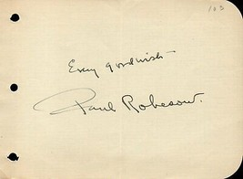 PAUL ROBESON Autograph. Nicely signed. Black actor and singer. - $34.64