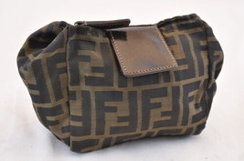 FENDI Zucca Canvas Pouch Black Brown Auth 7101 - $170.00