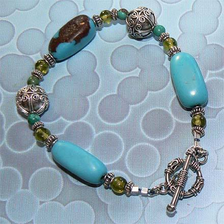 Sterling Silver Turquoise and Peridot Bracelet