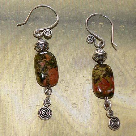 Sterling Silver Unakite Earrings