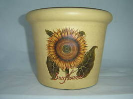 Sunflower Vintage look Planter Pot Ceramic