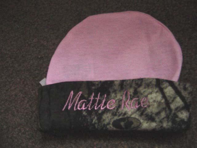 Personalized Pink with Camo Trim Girls Mossy Oak Hat Beanie Infant Newborn Baby