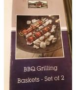 Barbeque Kabob Grilling Basket Rack Set of 2 with Wood Handle BBQ - $24.70