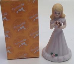 Enesco Growing Up Birthday Girl Figurine Age 9 1981 Blonde Purple Dress New - $11.88