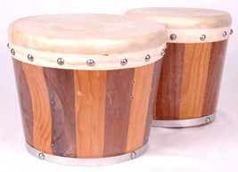 Vintage Wood Bongo Drums Set Percussion Instrument-Natural Skin-Two Tone - $37.39