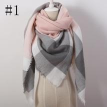 Hot Fashion Warm Cashmere Plaid Blanket Women's Warp Scarf Pashmina Shawl image 2