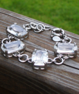 Express Bracelet, Chunky Clear Glass Rhinestone Crystals, Oversized c-Clasp - $45.00