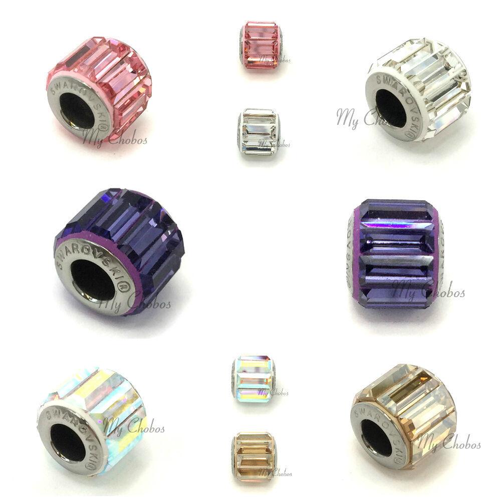 Swarovski European Fit Bracelet Charm Stainless BeCharmed Pave Baguette Crystal image 2